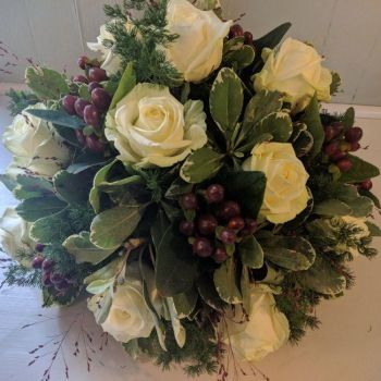 Ivory Rose & Burgundy Berry Posy