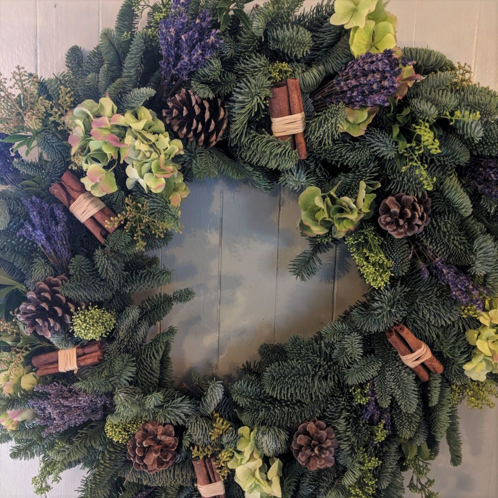 Green Hydrangea & Lavender Christmas Wreath