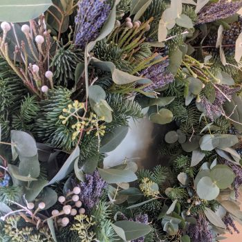 Silver Brunia & Lavender  Wreath
