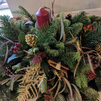 Classic Burgundy and Gold Christmas Candle Arrangement