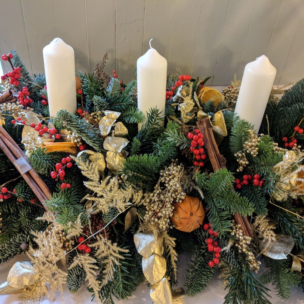 Red and Gold Christmas Candle Arrangement