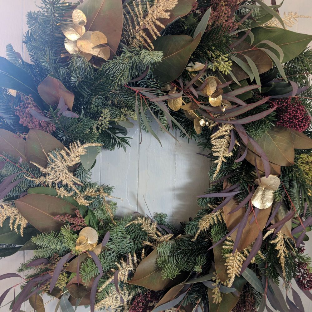 Burgundy & Gold Natural Christmas Wreath