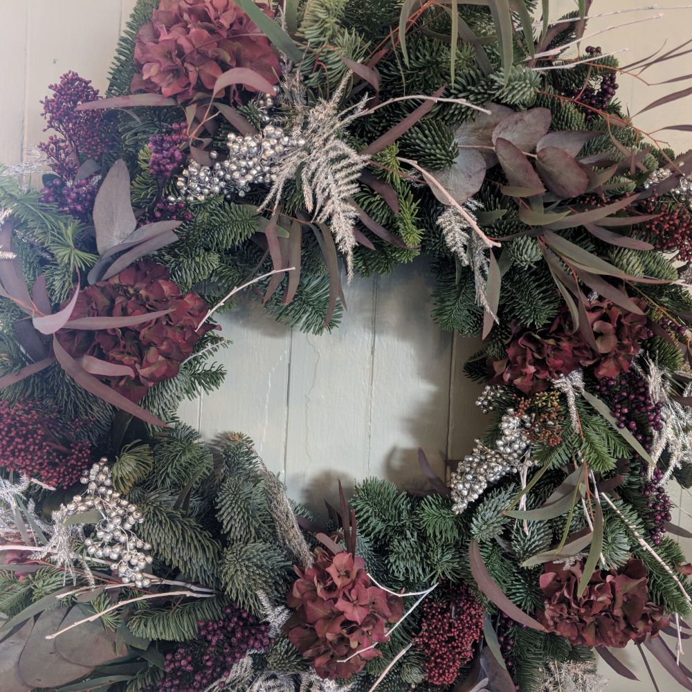 Burgundy & Silver Natural Christmas Wreath