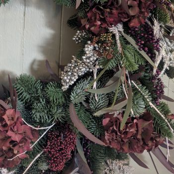 Burgundy, Silver & Purple Natural Garland