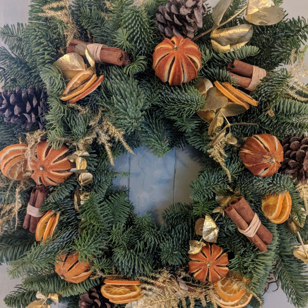 Orange & Gold Christmas Wreath