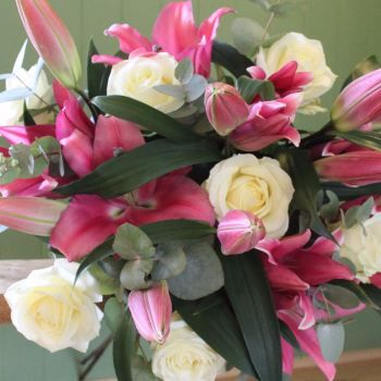 Pink Lily and Ivory Avalanche Bouquet. Price from