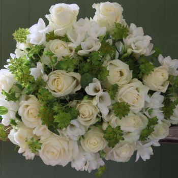 Ivory Avalanche Rose and White Freesia Bouquet. Price from