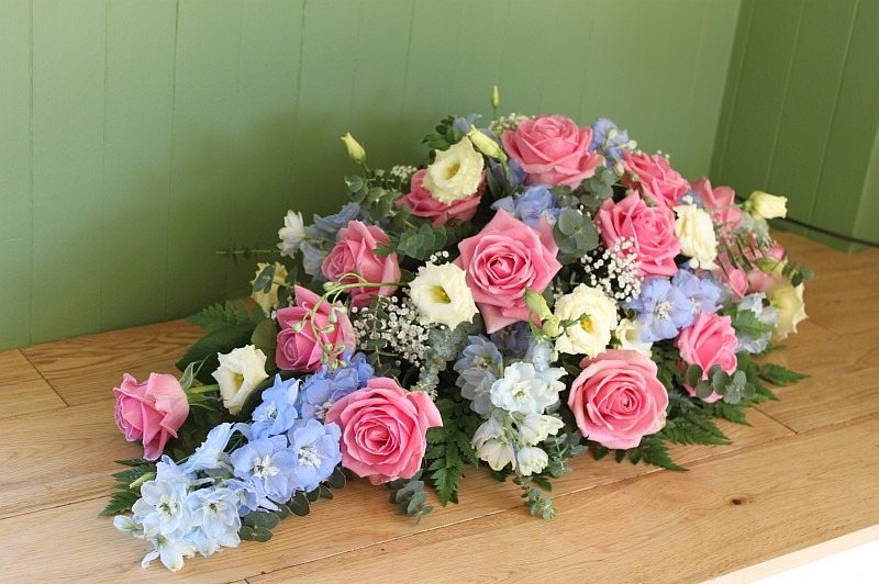 double ended delphinium and rose