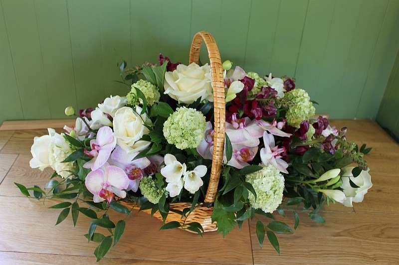 orchid & rose basket