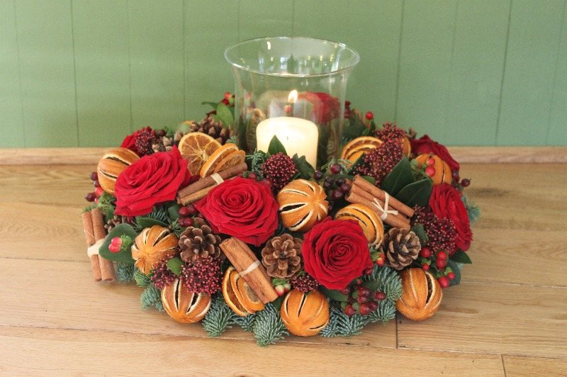 Christmas hurricane flower arrangement