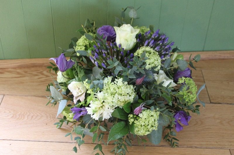lime purple white posy