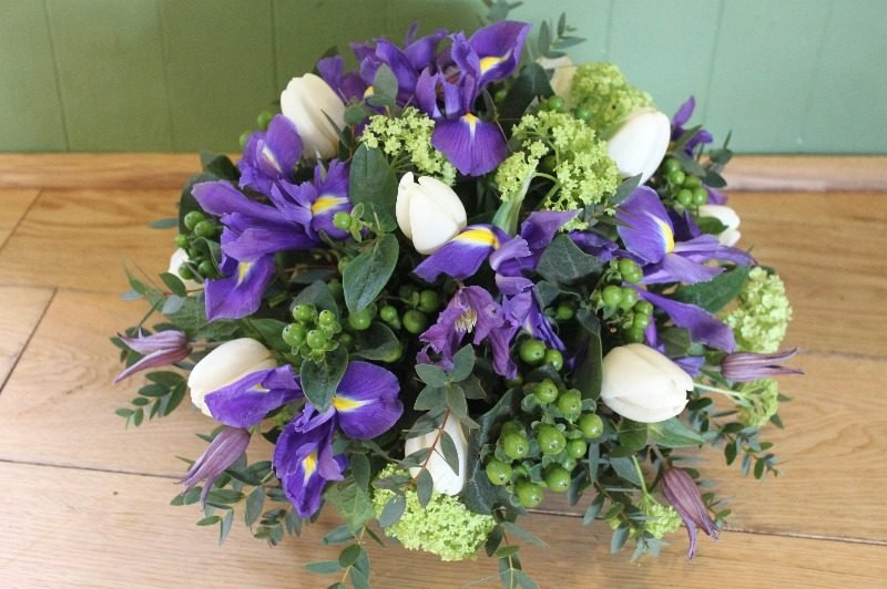 lime purple white spring posy
