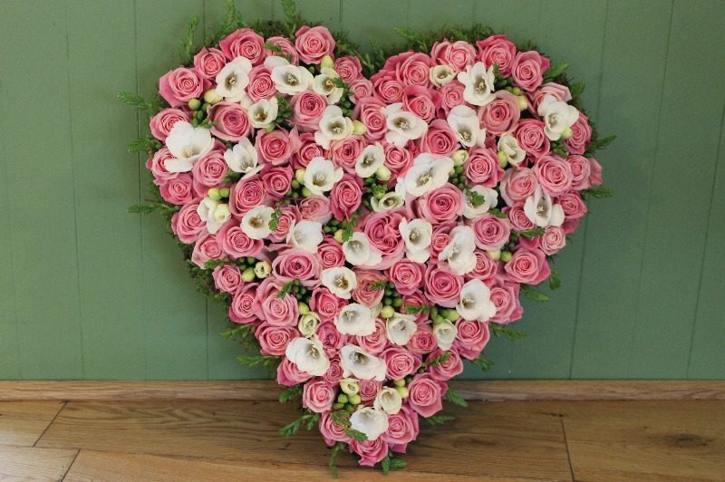 pink rose white freesia heart