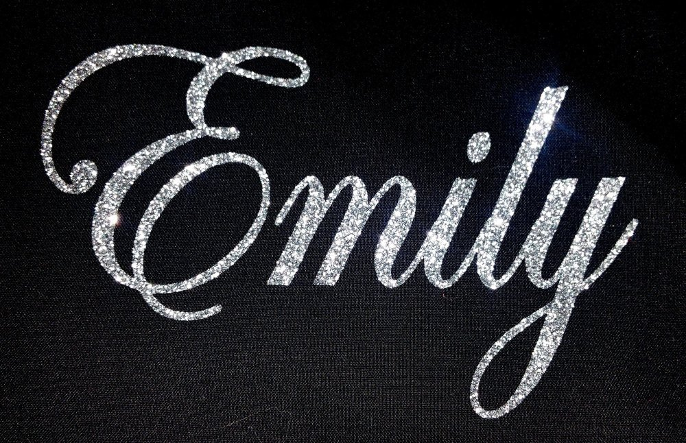 Personalised Name 1-6 Letters GLITTER Iron On / Hotfix - Swirly Font