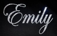 Personalised Name 1-6 Letters GLITTER Iron On / Hotfix - Swirly Font