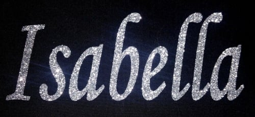 Personalised Name 1-6 Letters GLITTER Iron On / Hotfix - Mono Font