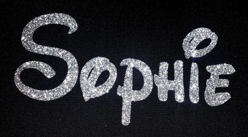 Personalised Name 1-6 Letters GLITTER Iron On / Hotfix - Disney Font