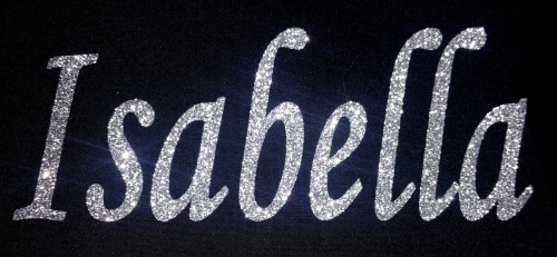 Personalised Name 7-12 Letters GLITTER Iron On / Hotfix - Mono Font