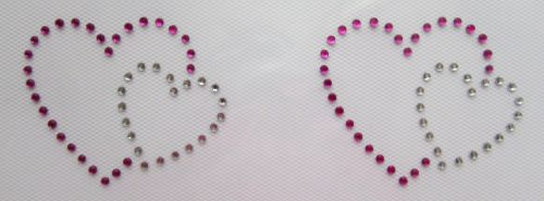 Small Pink and Clear Hearts x 2