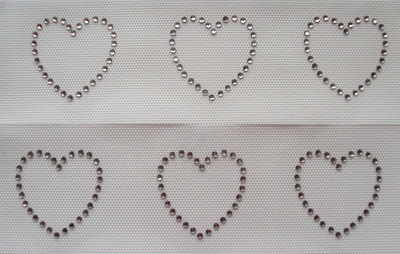 Small Clear Hearts x 6