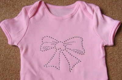 Ribbon/Bow - Pink Bodysuit/Vest/Gro