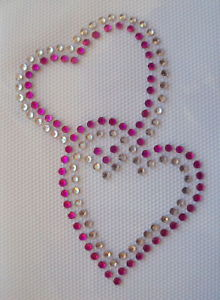 linked hearts pink clear