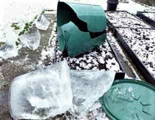 water butt damages by winter weather
