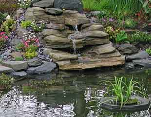 preformed waterfall in grey slate
