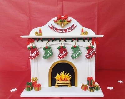 freestanding personalised wooden christmas stocking fireplace
