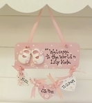 Baby Girl's Shoes Personalised Hearts Plaque