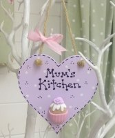 Cupcake Kitchen Personalised Lilac Wooden Heart