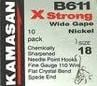 Kamasan B611 X strong barbless wide gape hooks.