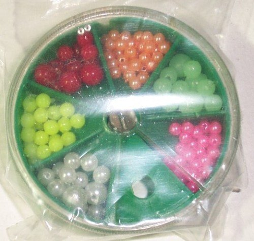 Zebco bead assortment.round tub with 6 compartments
