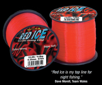 Ultima Red ice fishing line.