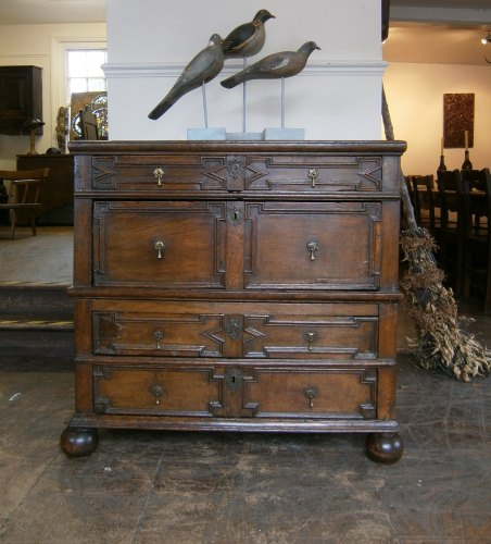 A 17th Century Oak Chest Of Drawers With Geometric Moulded Front