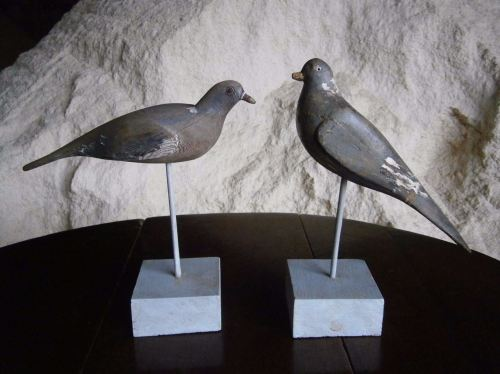 A Brace Of Antique Folk Art Pigeon Decoys