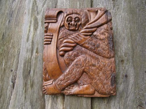 A Rare 16th Century Carved Panel Depicting A Woodwose / Wildman