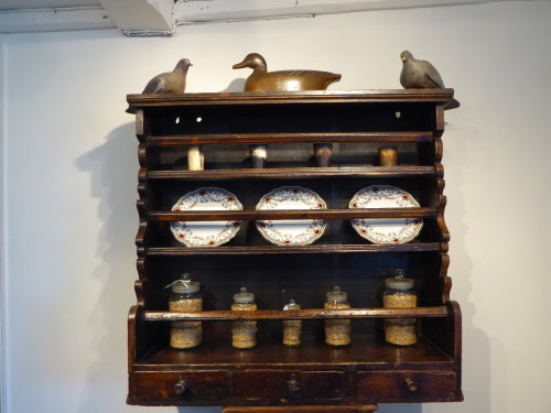 18th Century Irish Painted Hanging Pine Plate Rack With Three Drawers