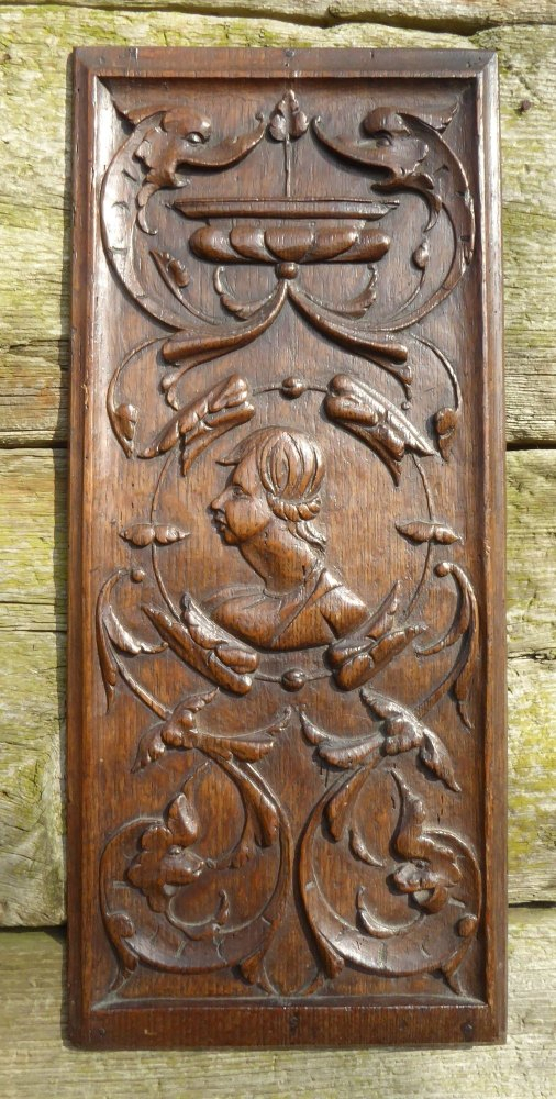 16th Century English Carved Oak Romayne Profile Panel