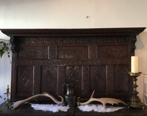 A 17th Century Carved Oak Overmantle Dated 1682 From Exeter Region