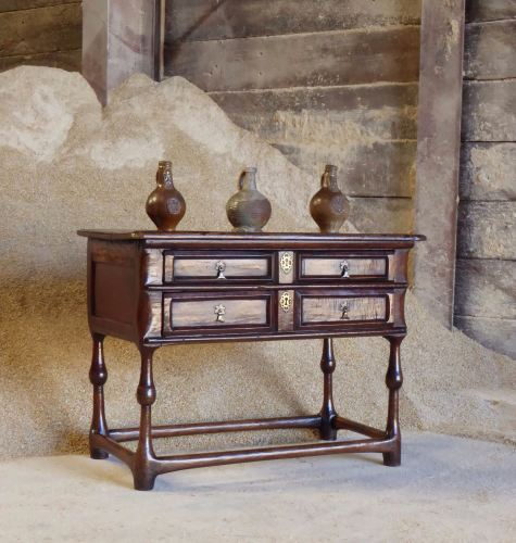 Late 17th Century Country Oak Dressing Table With Two Long Drawers