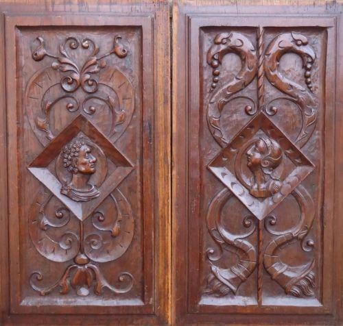 A Pair Of 16th Century Renaissance Carved Oak Romayne Profile panels