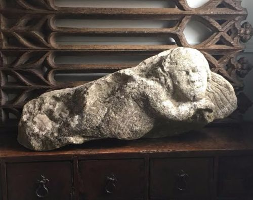 An English Medieval Carved Stone Angel.