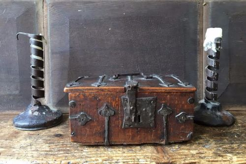 A Rare 15th Century Field Maple Iron Bound Casket / Minnekastchen
