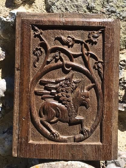 A Rare Henry VIII Period Carved oak Tudor Panel Depicting A Griffin