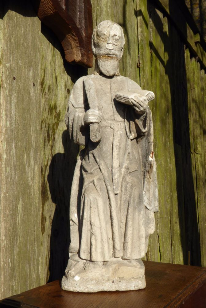 16th Century Carved Stone Figure Of St.Paul.
