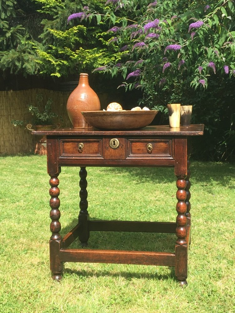 17th Century Oak Side Table With Single Draw
