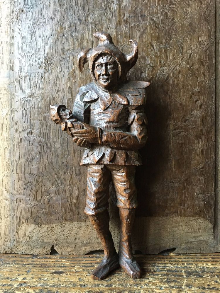 An Interesting 18th Century Carved Oak Figure Of A Jester