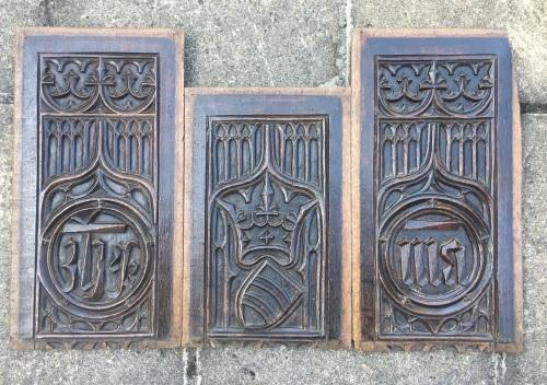 A Set Of Three Rare Gothic Oak Tracery Panels Circa 1500