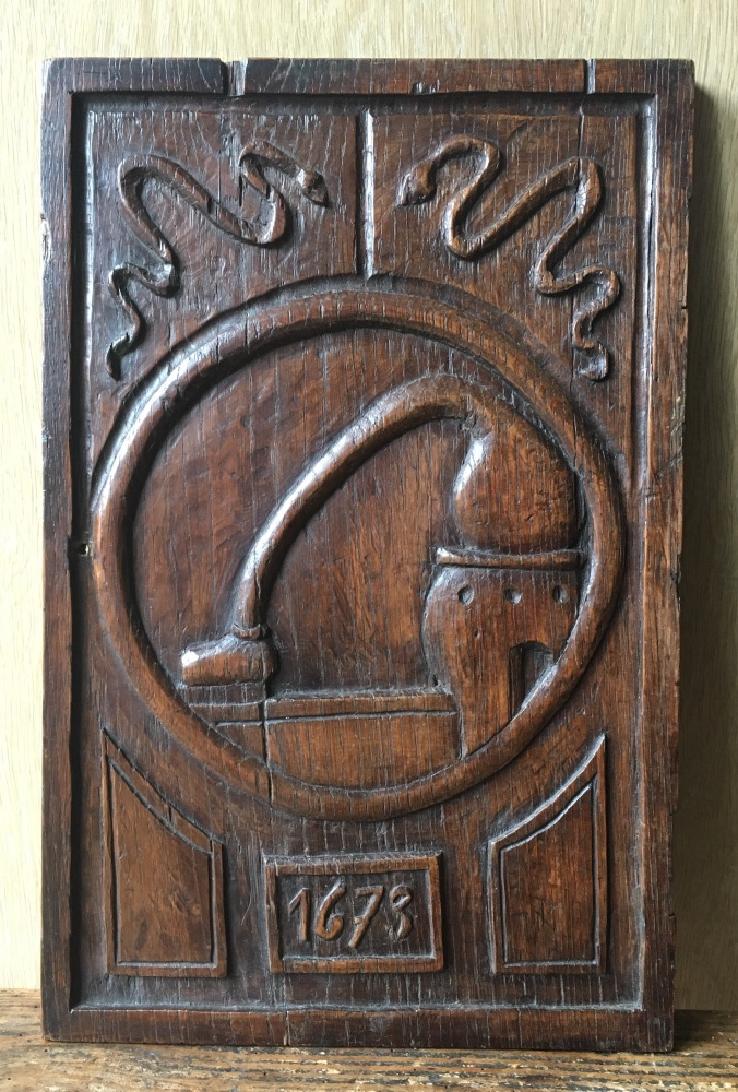 A Rare 17th Century Carved Oak Panel Dated 1673 Of Scientific interest